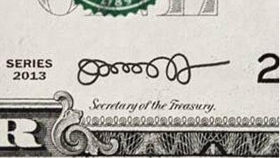 Подпись на долларах